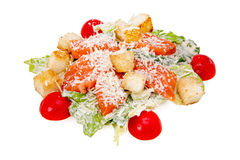Caesar Salad with a salmon. On white background Royalty Free Stock Photo