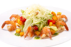 Caesar Salad with Seafood. Royalty Free Stock Images
