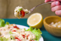 Caesar Salad on a serving plate on Stock Photography