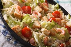 Caesar salad with shrimp close-up on a plate. horizontal Stock Photos