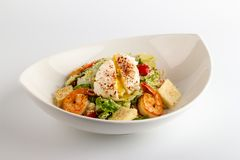 Caesar Salad with Shrimp and egg Pashot stock photo