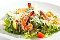 Caesar Salad with Shrimp Royalty Free Stock Photos