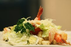 Caesar salad with shrimp Royalty Free Stock Image