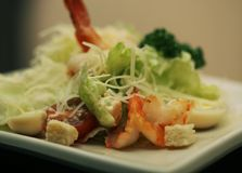 Caesar salad with shrimp Royalty Free Stock Photography