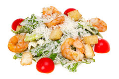 Caesar Salad with shrimp. On white background Royalty Free Stock Photo