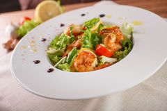 Caesar salad with shrimps and iceberg leaves. Caesar salad with shrimp on a white plate Stock Photography