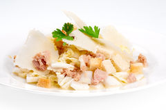 Caesar salad with tuna and parmesan cheese. Caesar salad with tuna on the plate Stock Images