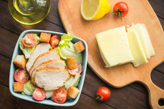 Caesar Salad With Chicken And Tomato Stock Image