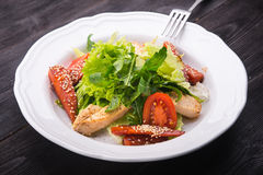 Caesar Salad With Grilled Chicken Stock Image