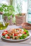 Caesar sallad med nya vårgrönsaker Arkivfoto