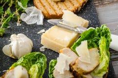 Caesar sallad på paninirostat bröd Arkivfoto