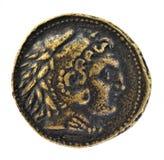 Caesar sulla vecchia moneta romana Immagini Stock