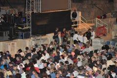 Caesarea Amfitheater, Israël, 19 Mei - het overleg van de muzikale groep Andrei Makarevich Stock Afbeeldingen