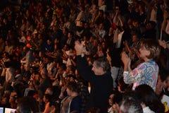 Caesarea Amfitheater, Israël, 19 Mei - het overleg van de muzikale groep Andrei Makarevich Royalty-vrije Stock Foto's