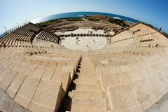 Caesarea amphitheater fisheye view Royalty Free Stock Photos