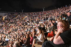 Caesarea Amphitheater, Israel, May 19 - The concert of the musical group Andrei Makarevich - Crowd of spectators at the concert Stock Photos