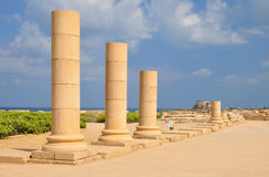 Caesarea columns. Royalty Free Stock Photo