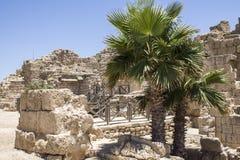 Caesarea hamnvägg arkivbild