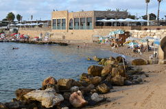 Caesarea Harbor and the Mediterranean before Sunset Stock Photo