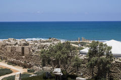 Caesarea Harbor wall Royalty Free Stock Photo