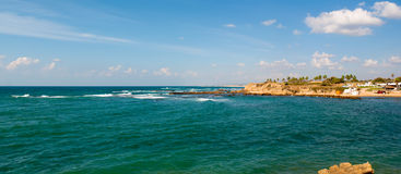 Caesarea, Israel . Old port of Caesarea in Israel with crystal clear water Historical landmark Stock Image