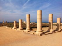 Caesarea, Israel. Ancient roman ruins with mediterranean sea view Stock Images