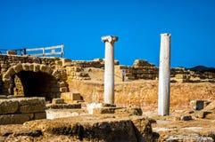 Caesarea, Israel. Ancient Caesarea ruins, the ancient bathes and columns Stock Photos