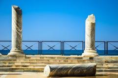 Caesarea, Israel. Ancient Caesarea ruins, the columns in front of sea Royalty Free Stock Photo
