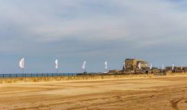 Caesarea, Israel - April 1, 2018: Ancient Herodian hippodrome or stadium in the national park Caesarea Israel. Caesarea, Israel - April 1, 2018: Ancient stock images