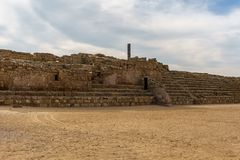 Caesarea, Israel - April 1, 2018: Ancient Herodian hippodrome or stadium in the national park Caesarea Israel. Caesarea, Israel - April 1, 2018: Ancient stock photo