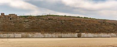 Caesarea, Israel - April 1, 2018: Ancient Herodian hippodrome or stadium in the national park Caesarea Israel. Caesarea, Israel - April 1, 2018: Ancient royalty free stock photo