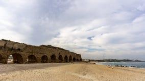 Caesarea, Israel - April 1, 2018: Ancient Roman ruins of aqueduct in Ceasarea Israel historical monument. Caesarea, Israel - April 1, 2018: Ancient Roman ruins royalty free stock photos