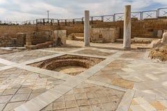 Caesarea, Israel - April 1, 2018: Ruins of ancient Herodian port city in the national park Caesarea Israel. Caesarea, Israel - April 1, 2018: Ruins of ancient royalty free stock photos