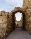 Caesarea, Israel - April 1, 2018: Ruins of ancient Herodian port city in the national park Caesarea Israel. Caesarea, Israel - April 1, 2018: Ruins of ancient stock images