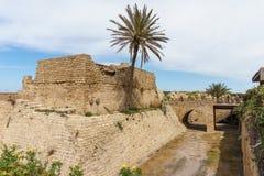 Caesarea, Israel - April 1, 2018: Ruins of ancient Herodian port city in the national park Caesarea Israel. Caesarea, Israel - April 1, 2018: Ruins of ancient stock photos