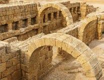Caesarea, Israel - April 1, 2018: Ruins of ancient Herodian port city in the national park Caesarea Israel. Caesarea, Israel - April 1, 2018: Ruins of ancient royalty free stock image