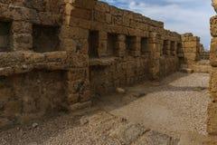 Caesarea, Israel - April 1, 2018: Ruins of ancient Herodian port city in the national park Caesarea Israel. Caesarea, Israel - April 1, 2018: Ruins of ancient royalty free stock images