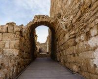 Caesarea, Israel - April 1, 2018: Ruins of ancient Herodian port city in the national park Caesarea Israel. Caesarea, Israel - April 1, 2018: Ruins of ancient royalty free stock photography