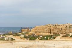 Caesarea, Israel - April 1, 2018: Ruins of ancient Herodian port city in the national park Caesarea Israel. Caesarea, Israel - April 1, 2018: Ruins of ancient stock image