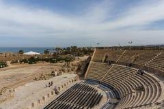 Caesarea, Israel - April 1, 2018: Ruins of ancient Herodian Theatre at Caesarea National Park Israel. Caesarea, Israel - April 1, 2018: Ruins of ancient royalty free stock images
