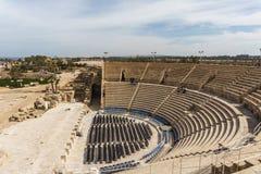 Caesarea, Israel - April 1, 2018: Ruins of ancient Herodian Theatre at Caesarea National Park Israel. Caesarea, Israel - April 1, 2018: Ruins of ancient stock photos
