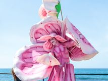 A participant of the Purim festival stands dressed in a fairy statue costume in Caesarea, Israel. Caesarea, Israel, March 03, 2018 :  A participant of the Purim Stock Images