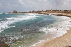 Caesarea Israel. Mediterranean sea along the shore of the Caesarea ancient city with hippodrome and harbour, Israel Royalty Free Stock Photography