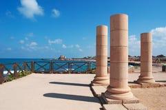 Caesarea, Israel, Middle East, Caesarea national park, ruins, sand, nature, skyline, Mediterranean Sea, columns Stock Photography