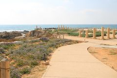 Caesarea Maritima national park in Israel. Caesarea Maritima was an ancient city and the national park contains several important sites from the Roman stock photo