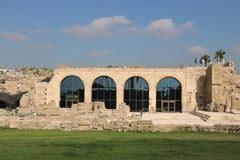 Caesarea Maritima national park in Israel. Visitors` center hosting a small museum in the Caesarea Maritima national park. Caesarea Maritima was an ancient city stock photos