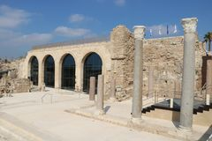 Caesarea Maritima national park in Israel. Visitors` center hosting a small museum in the Caesarea Maritima national park. Caesarea Maritima was an ancient city royalty free stock images