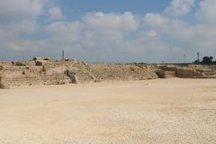 Caesarea Maritima national park in Israel. Caesarea Maritima was an ancient city and the national park contains several important sites from the Roman royalty free stock photo
