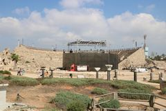 Caesarea Maritima national park in Israel. Caesarea Maritima was an ancient city and the national park contains several important sites from the Roman stock images