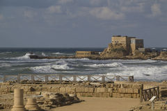 Caesarea Sea Port Ruins.Israel. Caesarea Maritima (Greek: pa?????? ?a?s??e?a), called Caesarea Palaestina from 133 AD onwards, was a city and harbor built by Royalty Free Stock Photography